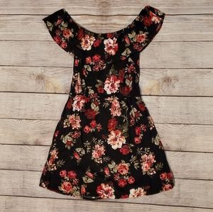 Ambiance black floral cold shoulder dress